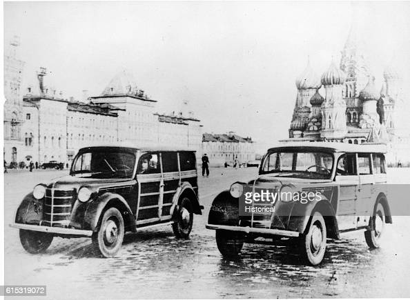 Two 1947 Soviet Station wagons park in Red Square