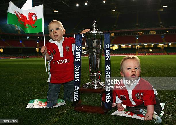 Two 9 month old babies both called Ryan Jones wish the Welsh national team good luck ahead of the 'Wales v France' match during the RBS 6 Nations...