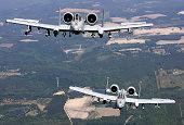 Two A-10C Thunderbolt aircraft near Moody Air Force Base, Georgia.