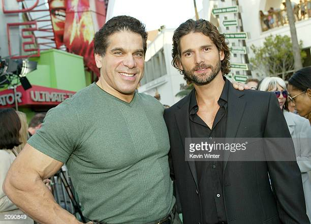Two actors who have played the Hulk Lou Ferrigno and Eric Bana attend the world premiere of the movie 'The Hulk' at Universal Studios on June 17 2003...