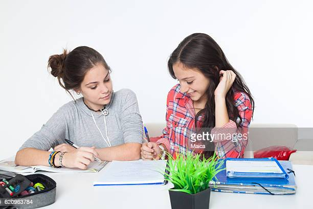 Two addolescent girlfriends studying tggether
