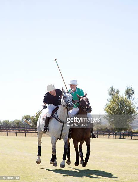 Two adult men playing polo