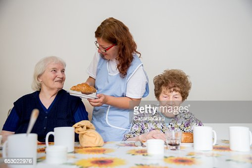 Two Adults Senior Having Breakfast Served : Stock Photo