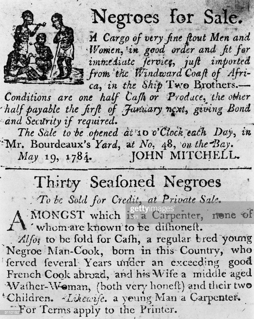 Two advertisements in a colonial broadside newspaper: one for a cargo of slaves just imported from Africa on the ship Two Brothers, and one for 'Thirty Seasoned Negroes', including a carpenter, a cook and the cook's family.