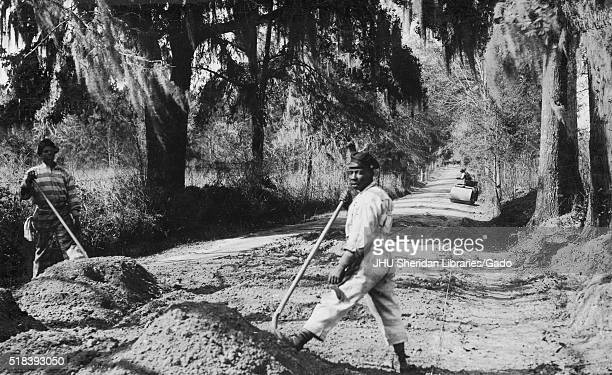 Two African American male prisoners in striped prison uniforms with serious expressions stand in a cleared wooded area each holding a shovel that has...