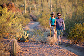 Two afternoon desert hikers in the American Southwest