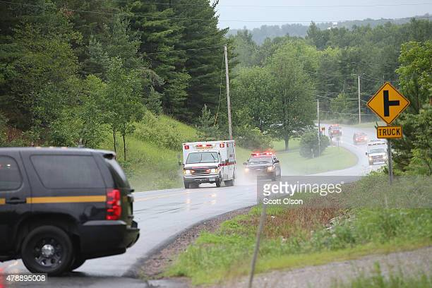 Two ambulances one believed to be transporting convicted murderer David Sweat is escorted by NY State Police to Alice Hyde Medical Center on June 28...