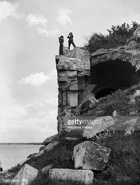 Two American Policemen Monitoring The Border Between Canada And The United States On The Banks Of Lake Champlain In Vermont On May 20 1945