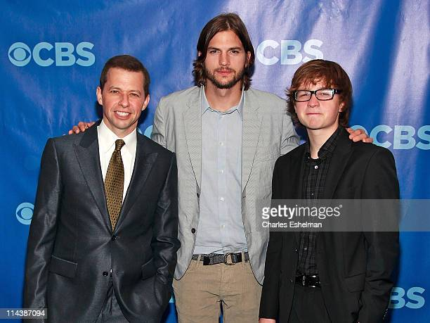 'Two and a Half Men' actors Actors Jon Cryer Ashton Kutcher and Angus T Jones attend the 2011 CBS Upfront at The Tent at Lincoln Center on May 18...