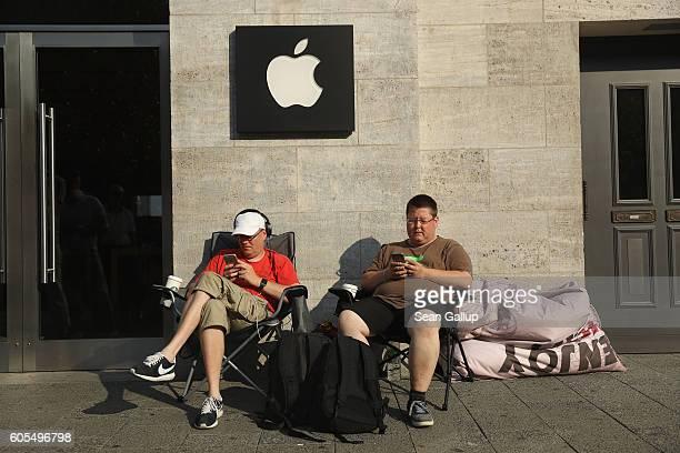 Two Apple fans camp out in front of the Berlin Apple store ahead of this coming Friday's sales launch of the new Apple iPhone 7 on September 14 2016...