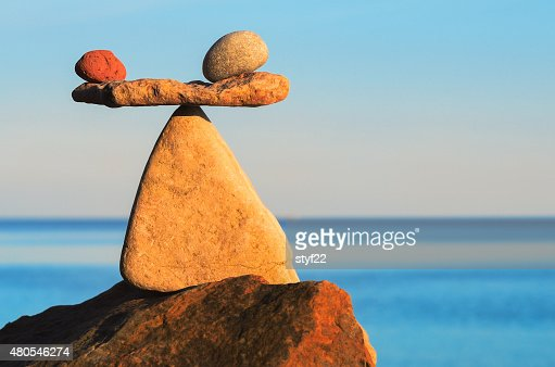 Two apples and stone : Stock Photo