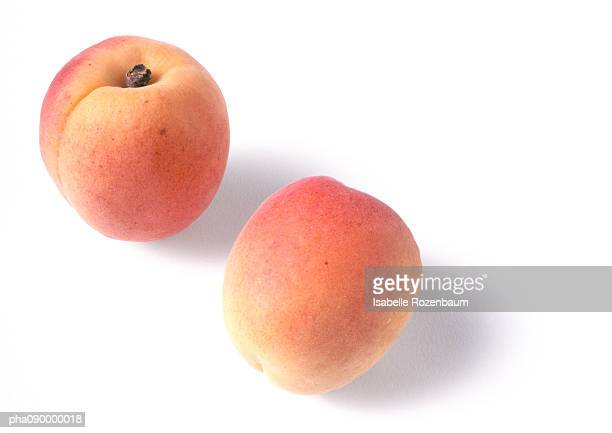 Two apricots, white background