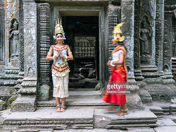 Two Apsara khmer dancers, Angkor wat, Cambodia