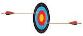 Two arrows hit target on a white background. Prospective illusion. Image made using two at native resolution.