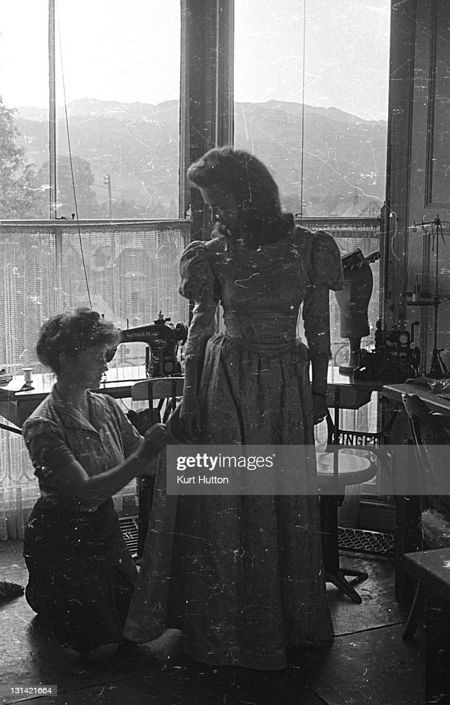 Two art students from the Royal College of Art designing a frock at a studio in Ambleside Lake Windermere Cumbria 3rd July 1943 Original Publication...