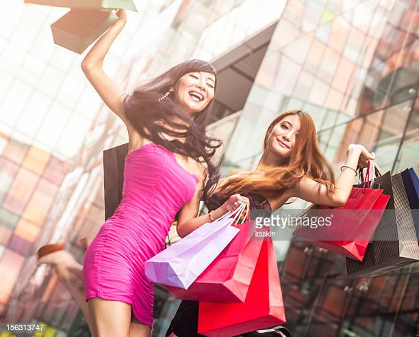 Two asian girls shopping
