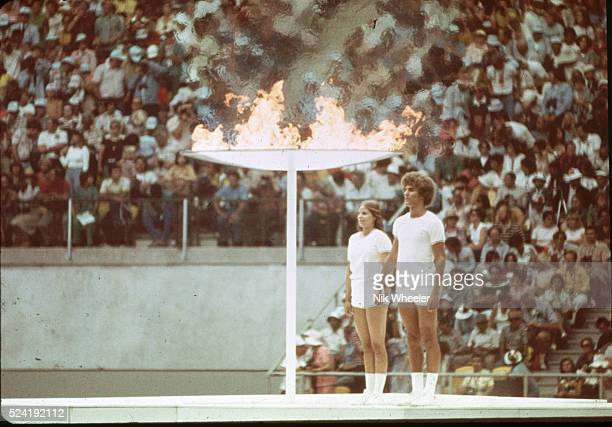 Two Athletes at Opening Ceremonies for the 1976 Summer Olympic Games in Montreal