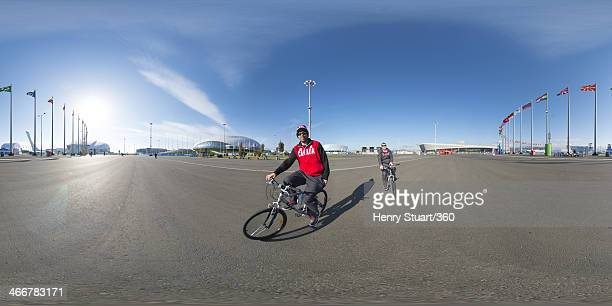 Two athletes from Team Canada cycle past the camera in the centre of the Coastal Cluster of the Olympic Park at the Coastal Cluster ahead of the...