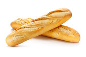 Two baguettes isolated on white background with clipping path.