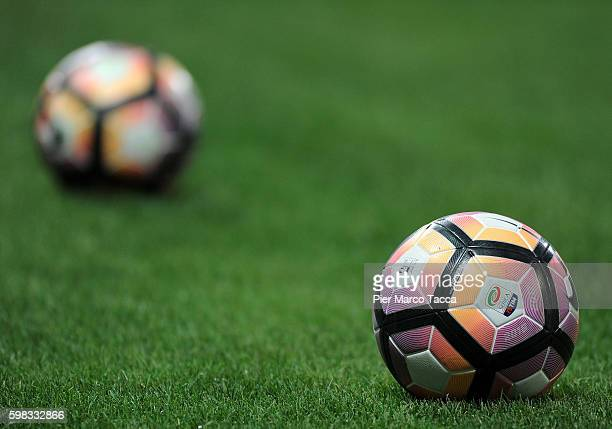 Two balls are dislayed during the Serie A match between US Sassuolo and Pescara Calcio at Mapei Stadium Citta' del Tricolore on August 28 2016 in...