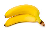 Two bananas isolated on white background isolation