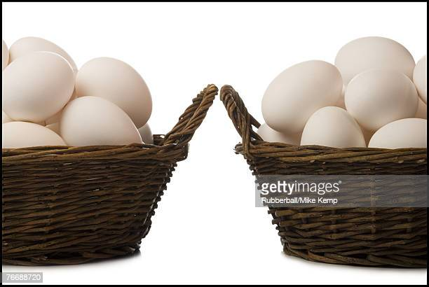 Two baskets filled with eggs