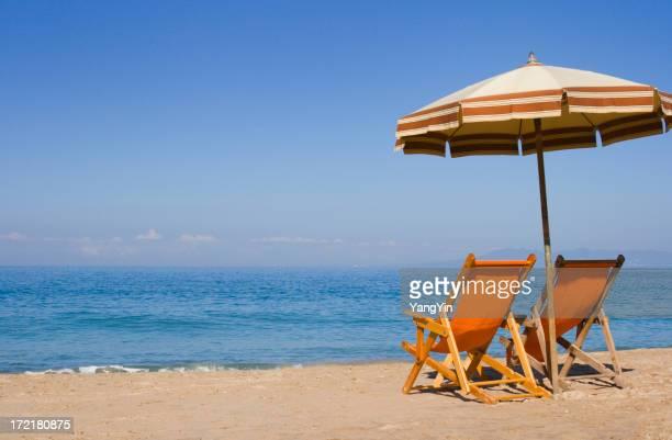 Due spiaggia sdraio Godetevi Messico estate vacanza tropicale viaggi vista