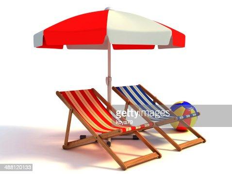 Sonnenschirm strand comic  Zwei Strand Liegestühle Unter Dem Sonnenschirm 3dillustration Stock ...
