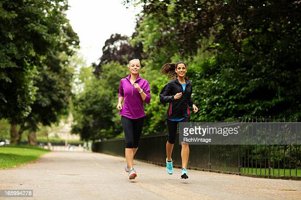 Two Beautiful English Women Run in a Park