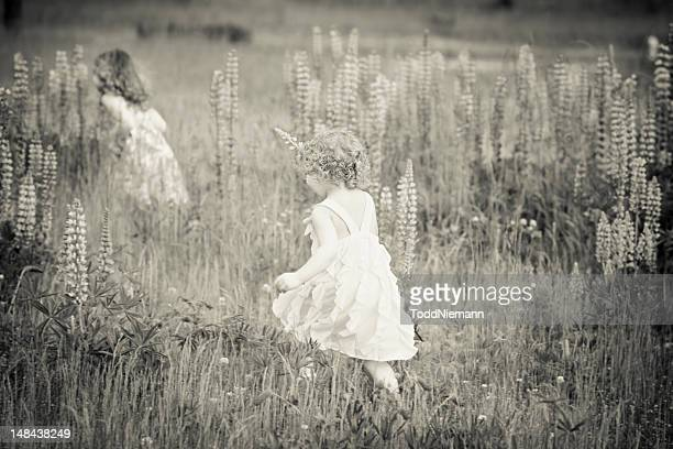 Two beautiful girls running through flower field