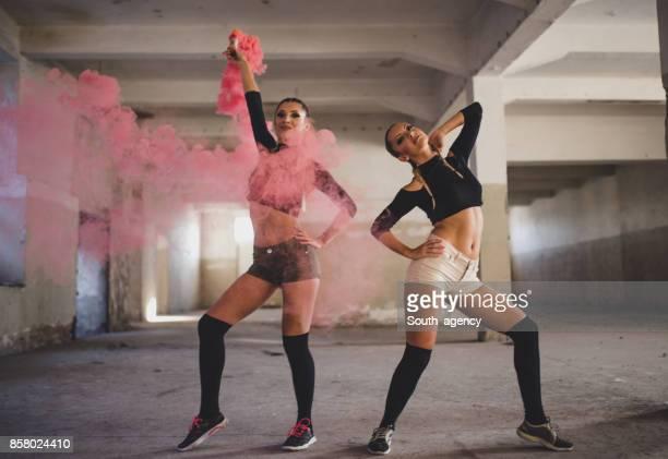 Two beautiful woman dancers
