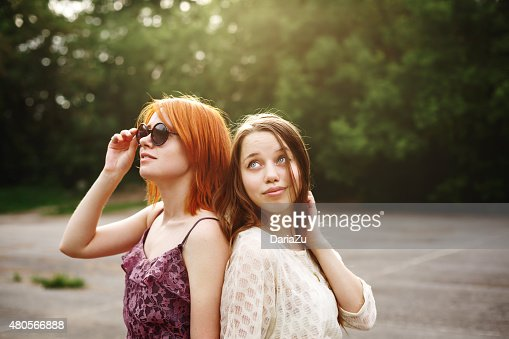 Two Best Friends Teen Girls Staying Together : Stock Photo