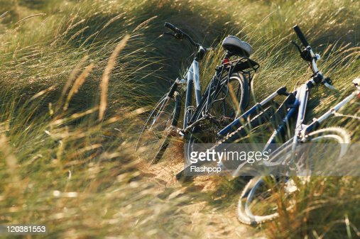 Two bicycles at the beach : Stock Photo