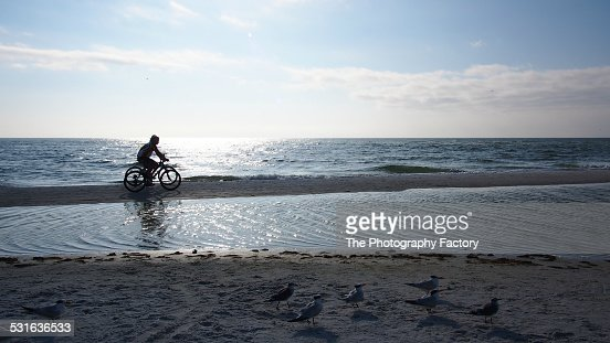 Two Bicyclists on Siesta Key Beach, Florida
