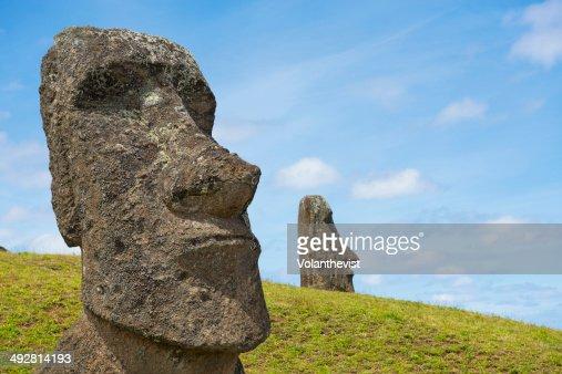 Two big Moai in Easter Island