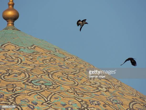 Two birds fly over beautiful decorated mosque dome