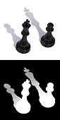 3D illustration of two chess pieces of a king and a pawn with inverted shadows. A mask is also attached to the illustration to quickly and easily select chess pieces with it shadows if needed.