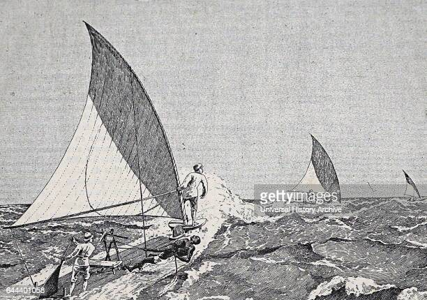 Two black servants balance the sail on a French colonial yacht off the West African Coast during rough seas 1890