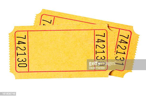 Two blank theater or movie tickets