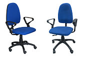 two blue chair computer isolated on the white background