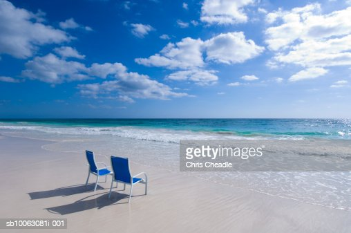 Two blue chair on beach : Stock Photo