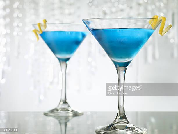Two Blue Cosmopolitan Cocktail Drinks