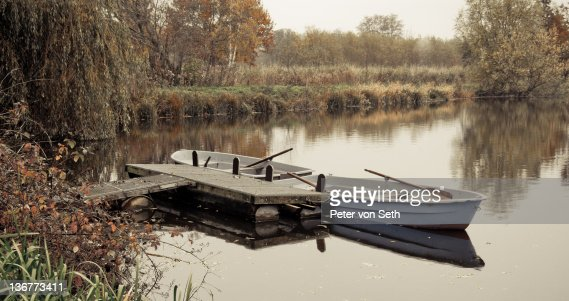 Two boats at landing stage : Stock-Foto