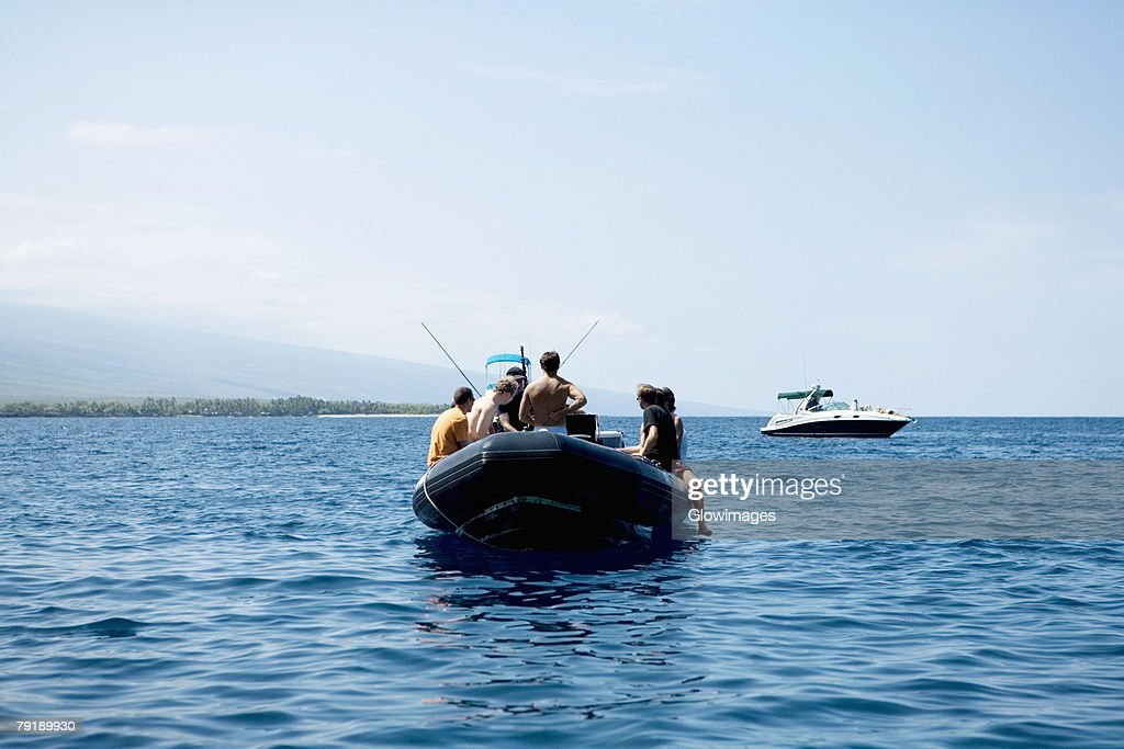 Two boats in the sea, Captain Cook's Monument, Kealakekua Bay, Kona Coast, Big Island, Hawaii islands, USA : Stock Photo