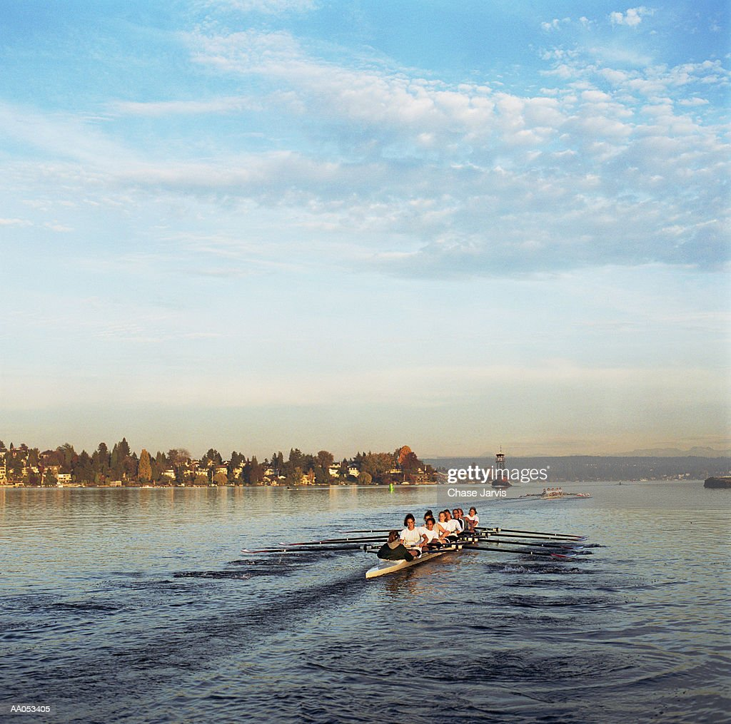 Two boats of womens crew teams, Washington, USA : Stock Photo