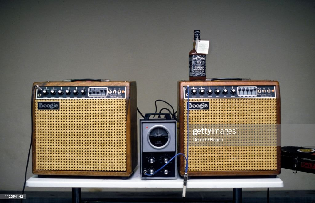 Two Boogie amplifiers, a Conn Strobotuner and bottle of Jack Daniels backstage at a Rolling Stones concert, 1982.