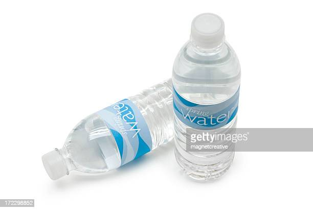 Two bottles of spring water against white background