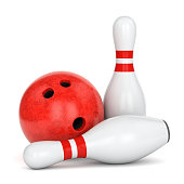 Bowling ball with marble texture and pair of pins with red stripes isolated on white background. 3D illustration