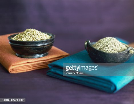 Two bowls of spices, elevated view : Stock Photo