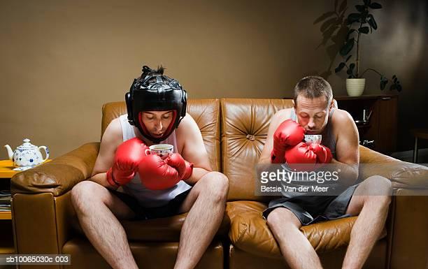 Two boxers sitting on sofa having tea